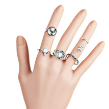 5Pcs Women Zinc Alloy Vintage Gypsy Moon Carved Finger Tattoo Midi Rings - $189,89 MXN