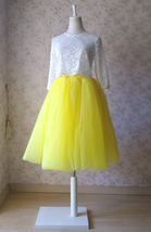Yellow Puffy Midi Tulle Skirt Plus Size Tulle Tutu Skirt 6-layered Yellow Skirt  image 3