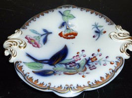 Antique Alba Porcelain Cobalt Hand Painted Footed Bowl with Handles - $119.00