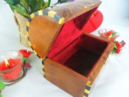 Red velvet lined box, thuya wooden valentine gift box, mexican treasure ... - $75.00