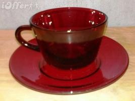 MID CENTURY MODERN 1960'S RETRO- ANCHOR HOCKING GLASS ROYAL RUBY TALL CU... - $9.95