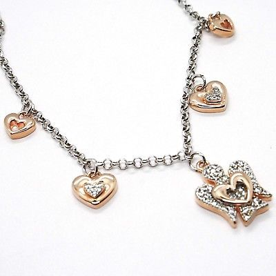 925 STERLING SILVER NECKLACE, HEART ANGEL, ZIRCON, ROBERTO GIANNOTTI, GIA331