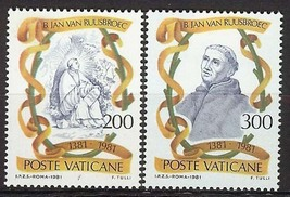 1981 John van Ruysbroeck Set of 2 Vatican Stamps Catalog Number 692-93 MNH