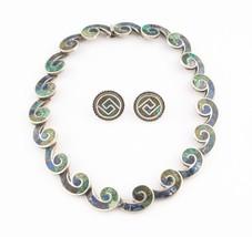 Los Castillos Sterling Silver Vintage Taxco Mosaico Azteca Necklace & Ea... - $395.99