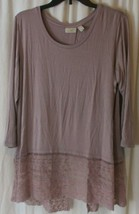 LOGO By Lori Goldstein Women's Tunic Blouse Top Split Back Layered Sheer... - $27.71