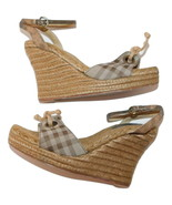 BURBERRY Espadrille Wedge Sandals Snake Ankle Strap sz 40/9 - $96.56