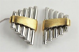 ESTATE VINTAGE STORE Jewelry NOS DESIGNER MODERNIST TWO TONE CLIP EARRINGS - $75.00