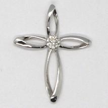 Colgante de la Cruz Oro Blanco 750 18 CT,Diamantes,Flor,Pétalos,Made IN Italy image 2