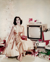 Elizabeth Taylor By Christmas Tree and Old Televsion Set 16x20 Canvas Giclee - $69.99