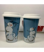 St. Nicholas Square Snowman Thermal Mugs Ceramic Double Walled Christmas... - $19.79