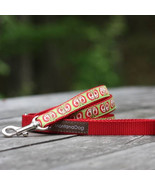 Butterfly Red Jacquard Dog Leash (120cm, 4ft.) / Made in Japan - $36.00