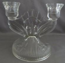 Jeannette Glass Iris & Herringbone Clear Glass Double Candle Stick Holder - $4.00