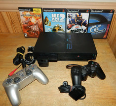 Sony PS2 Playstation 2 bundle w/ memory card 2 controllers, hookups and 4 Games - $68.58