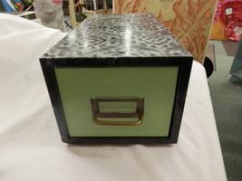 Metal Steel Green Industrial Age File Cabinet Box Drawer Card Vtg Crafts... - $49.99