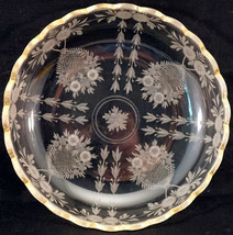 Etched Glass Low Bowl Gold Rim Fostoria or Cambridge Lovely Pattern - $25.99