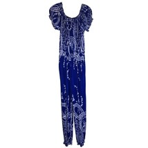 Royal Blue and White Print Vintage Silk Blend Jump Suit XL - $19.80