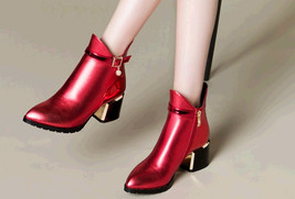 PB181 Luxury pointy booties w horse heel, genuine leather, US Size 4-10, red - $68.80