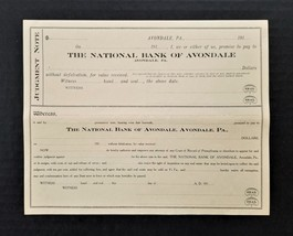 1910 antique AVONDALE pa NATIONAL BANK CHECK judgement note - $22.50