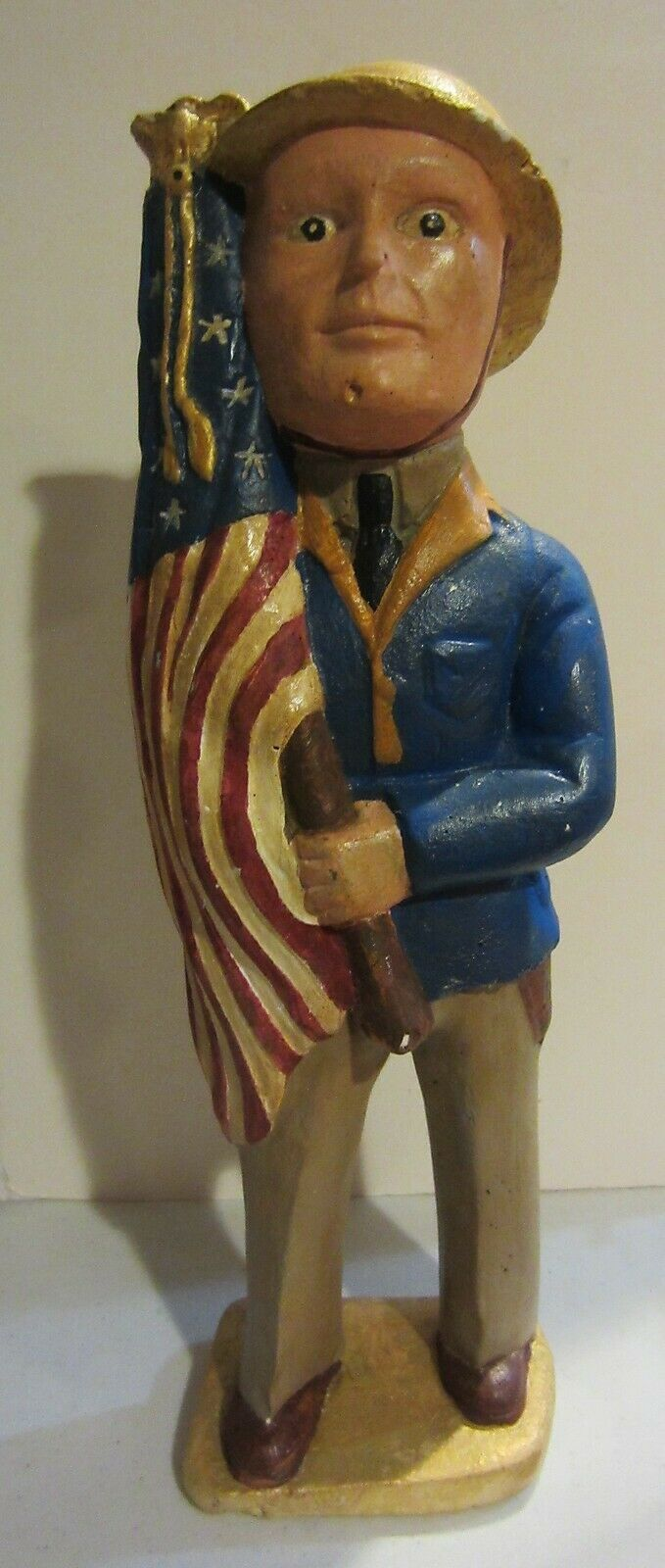 Primary image for Vintage Carnival Chalkware Prize WWI Doughboy Soldier With Flag