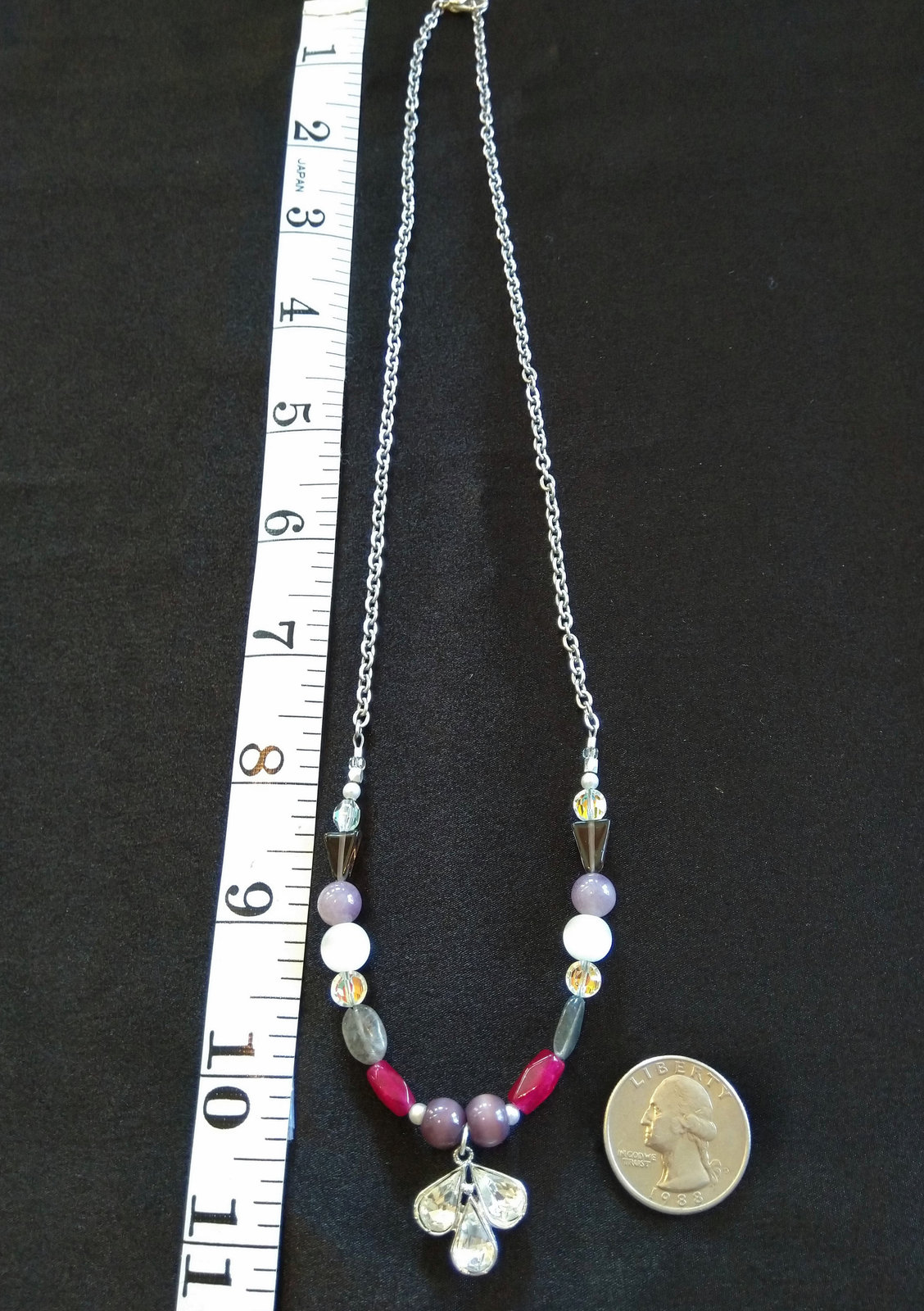 Crown Chakra Gemstone Necklace with Vintage Glass Gem Piece