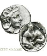 HERAKLES wrestling Nemean Lion, ATHENA Helmeted Ancient Greek Silver Coi... - $314.10