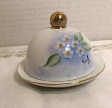 Vintage Look Hand Painted Domed Butter Pat Dish // Open Salt //Sauce Ram... - $10.00
