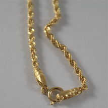 18K YELLOW GOLD CHAIN NECKLACE, BRAID ROPE 18 INCHES, 45 CM LONG, MADE IN ITALY image 3