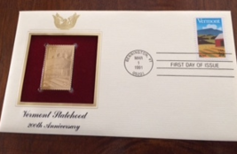 Vermont Statehood 200th Anniversary First Day Gold Stamp Issue Mar. 1, 1... - $4.50