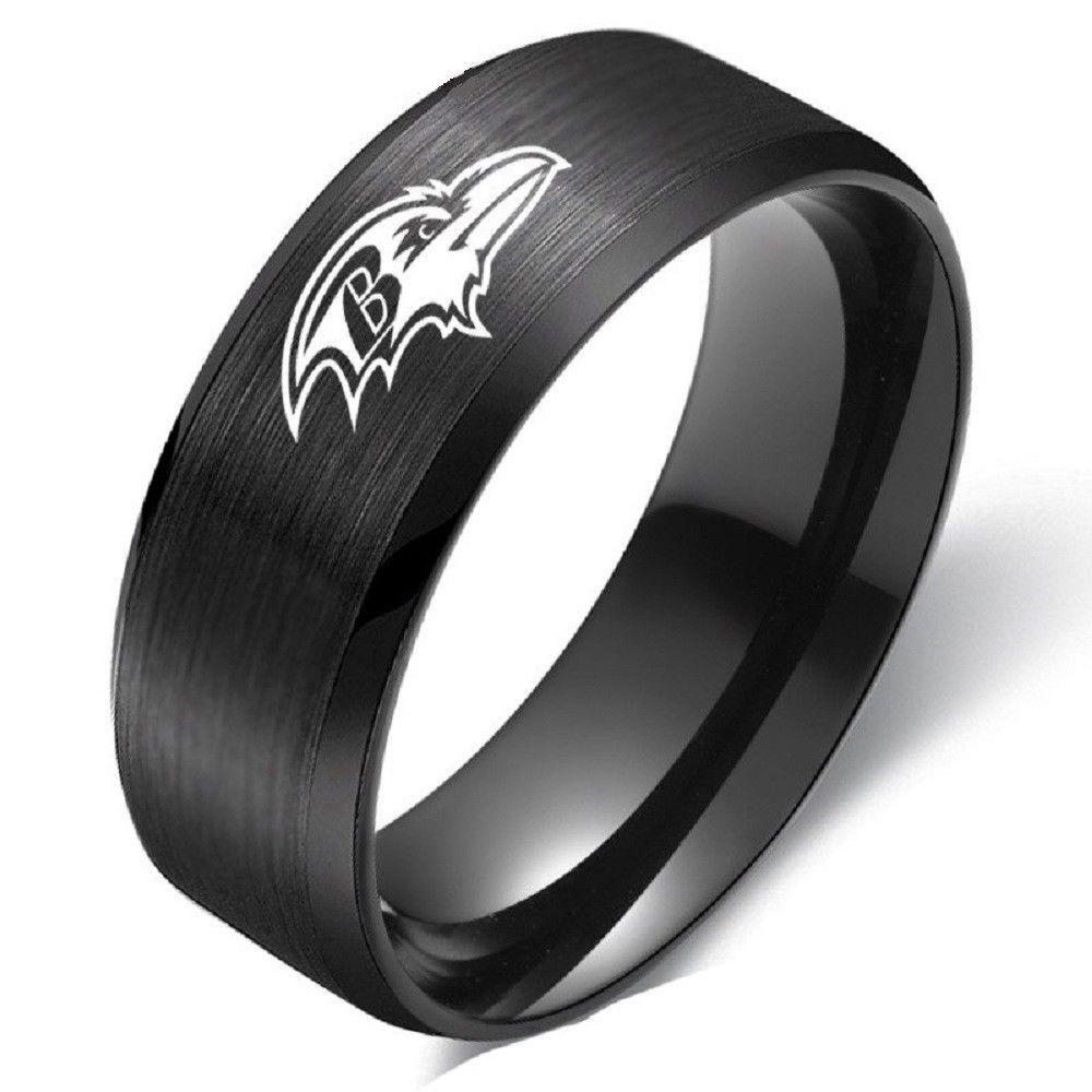 Primary image for Baltimore Ravens Ring Football Black Titanium Steel Men Sport Band Size 6-13