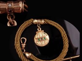 Antique Watch chain - Vintage Victorian Woven Hair - hot air balloon fob  image 2