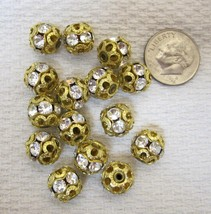 Lot of 15 Vintage Gold Metal Filigree & Rhinestone Studded 10MM FB-6 - $13.07