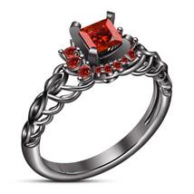 Red Garnet Princess Cut Black Gold Over Pure 925 Silver Wedding Engageme... - $81.59