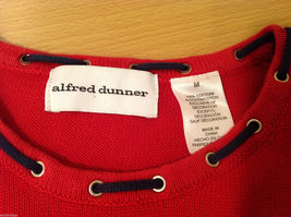 Alfred Dunner Red 3/4 Sleeve Sweater USA Flag Imitation, Size M, 100% cotton image 9