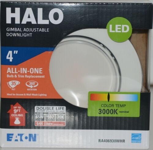 Eaton RA406930WHR HALO Gimbal Adjustable Downlight White 4 Inches