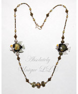 Olive Twins - Lampwork and Jade Necklace and Earrings Set - $320.00