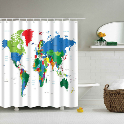 2017 New Design Colorful Eco-friendly World Map Polyester  High Quality Washable image 3