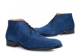 Handmade Men's Nave Blue Suede Chukka Lace Up Boot image 1