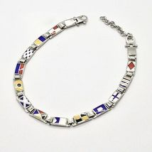 Bracelet Silver 925, Flags Nautical Glazed Tiles, Long 20 cm, Thickness 5 MM image 5