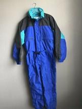 Vtg Columbia One Piece Ski Suit Bib coat Snowsuit Blue Neon Men Large 80... - $89.09