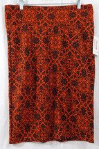 Womens LuLaRoe Cassie Skirt XL Dark Orange Black   NWT - $36.17