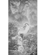 NUDE Nymph of the Cascade Wild Forest - Victorian Era Antique Print - $16.20