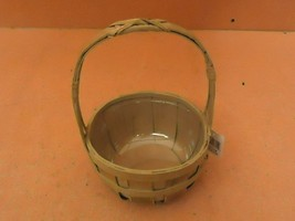 Designer Basket 10in H x 6in Diameter Green Handle Plastic Liner Wicker - $16.92