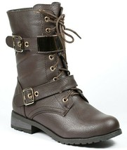 Dark Brown Faux Leather Lace Up Gold Buckle Straps Military Mid Calf Combat Boot - $14.99