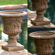 Garden Stone Planter Antique Light Brown Roman Decor Outdoor Patio Porch... - $138.25 CAD