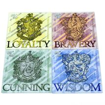 Harry Potter Hogwarts House Crest Prints 4 Piece Fused Glass Coaster Set Holder image 7