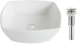 KRAUS Bathroom Vessel Sink Square Stain-Scratch Pop Up Drain Ceramic White - $136.45