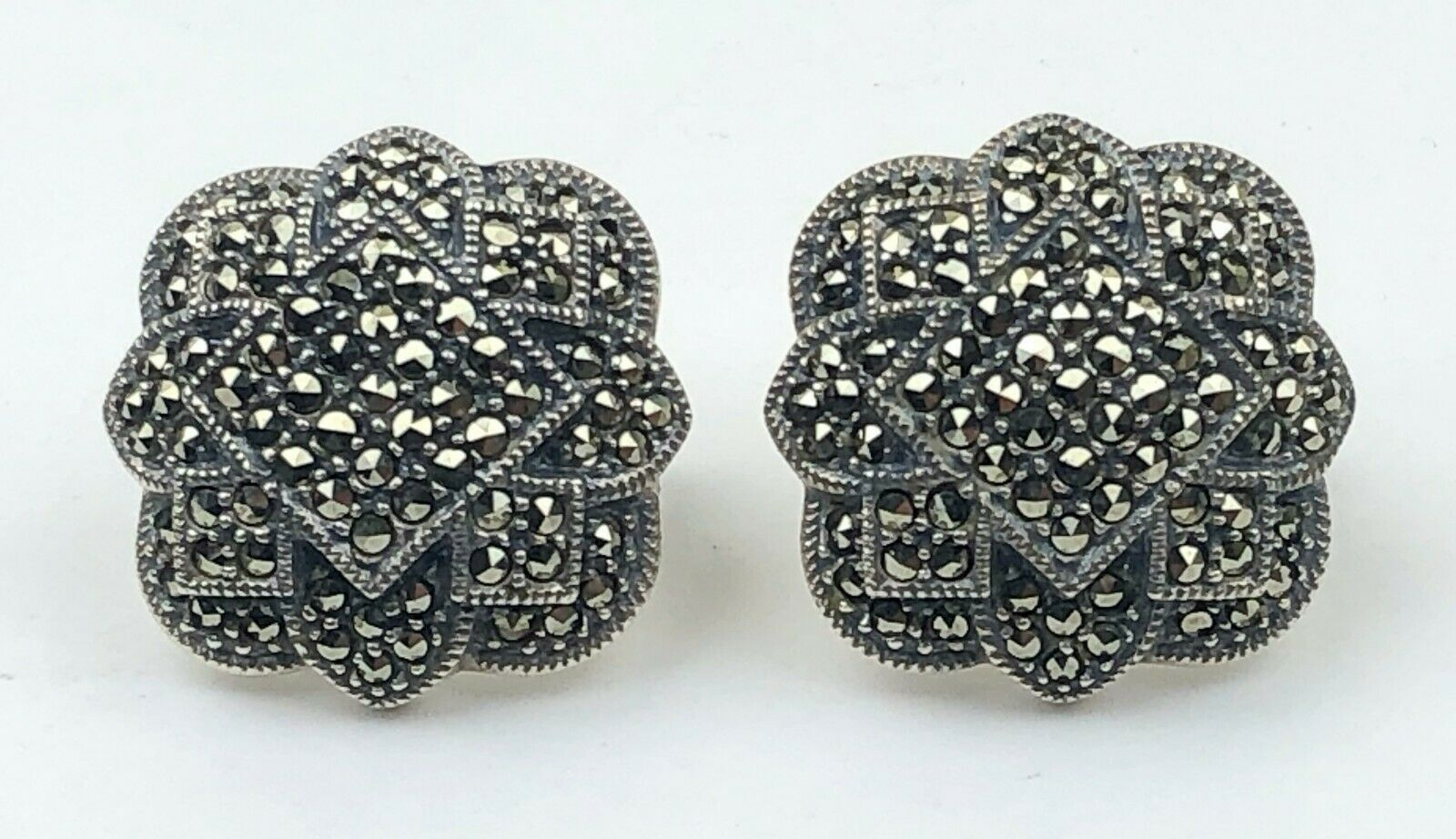 Primary image for Vintage Judith Jack Retired Signed JJ Sterling Silver Marcasite Pierced Earrings