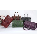 New Italian Leather Crocodile Embossed Barrel Satchel Handbag Purse - $188.05