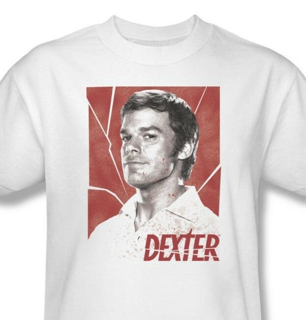 Dexter T-shirt Shattered graphic printed cotton white tee Free Shipping SHO335