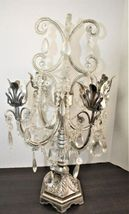Dining Table Top Centerpiece Candle Holder Silver Chandelier Glass Tear Drops image 6